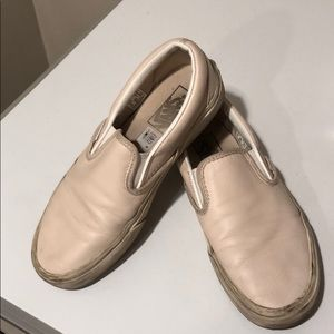❤️Use Vans slip on cream Leather color size 6.5